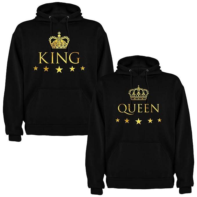 el precio más bajo 603c9 16572 Pack de 2 Sudaderas Negras para Parejas, King y Queen, Dorado