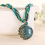 A&C Fashion Bohemia Green Peacock Bohemia Necklace for Women. Indian Weave Necklace for Girl.