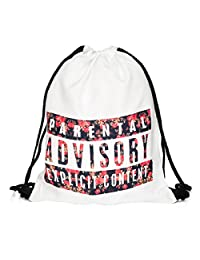 Fullprint Drawstring Bag Backpack Rucksack School Book Bags Gymbag Gym Sack Outdoor Sackpack Shopping Parental Rose White
