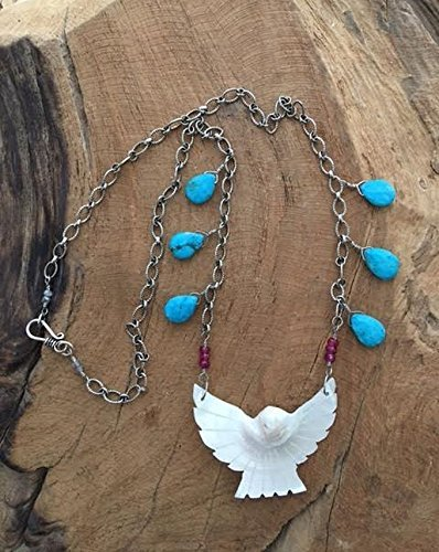 Carved Mother Of Pearl Eagle with Easter Blue Turquoise Ruby Labradorite and (Oxidized Eagle)