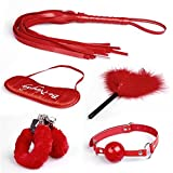 Leijing NEW 5pc whip blindfold handcuff foot mouth sealing ball collar cotton rope wishagoodwish (Color: Red)