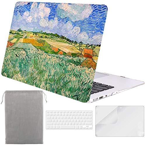 (Sykiila for MacBook Air 11 Inch Case Hard Cover 4 in 1 HD Screen Protector Film + TPU Keyboard Cover + Sleeve Protective Folio Case for Air 11'' Model: A1370 / A1465 - Wheat Field)