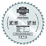 CMT K04010 ITK Contractor General Purpose Saw Blade, 10 x 40 Teeth, 10° ATB with 5/8-Inch bore