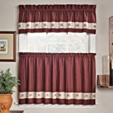 GPD Embroidered Mini-Plaid Valance - Perfect Plaid Curtain for Kitchen, Bathroom, and Bedroom - Small Check Plaid with Acorn Embroidery ‰ÛÒ Red Valance