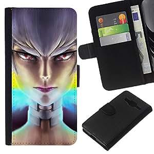 LECELL--Cuero de la tarjeta la carpeta del tirón Smartphone Slots Protección Holder For Samsung Galaxy Core Prime -- Niña mala --