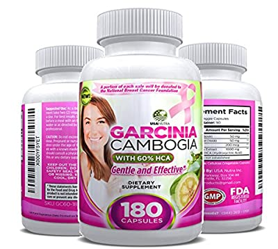 100% Pure Garcinia Cambogia Extract with HCA. GENTLE and Effective Formula. 180 Capsules. Satisfaction Guaranteed. Made in USA.