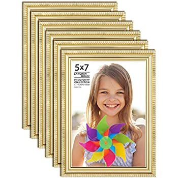 Langdon House 5x7 Picture Frames (6 Pack, Gold) Gold Picture Frame Set, Wall Mount or Table Top, Set of 6 Prosperity Collection