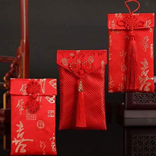Premium Chinese Red Envelopes, Cute Gorgeous Hongbao for New Year, Christmas, Wedding, Thanksgiving, Handmade Silk Gift Money Holder,Unique Spring Festival Gift with 1 Blank Card (3pcs Silk-3) (Christmas Chinese Cards)