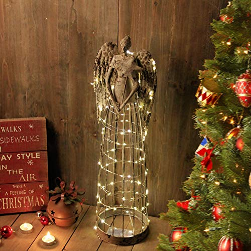 Attraction Design Antiqued Metal Garden Angel Statue with LED String, Indoor Outdoor Angel Yard Art Decor Lawn Patio Decorations Holiday Decor Idea, 26''H, Battery Not Included (Star-A)