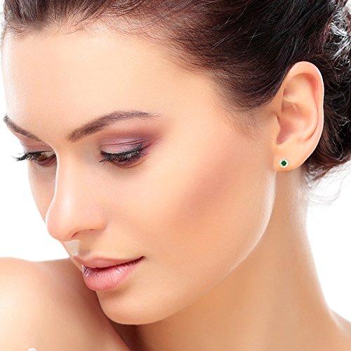 Tousmesbijoux Boucles d'oreilles en Or blanc 375/00 diamants et émeraudes