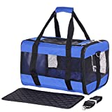 Dog Pet Carrier Puppy Pug Cat Kitty Bag Vet Trip Tote Handbag Chihuahua Carrier (Blue)