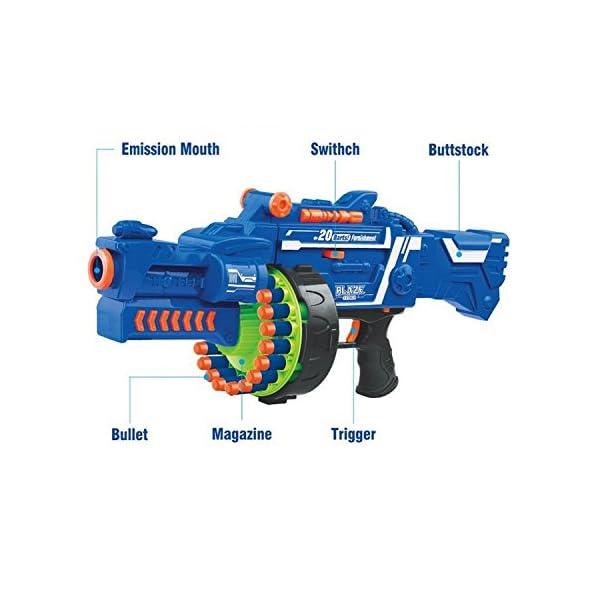 Toyshine Blaze Storm Soft Bullet Automatic Gun, 40 Darts Included, Blue