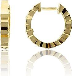 14K Yellow Gold High Polished 1.80x8.00mm Huggie Earring