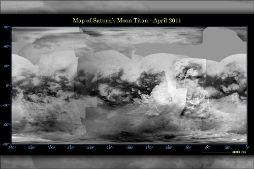 Poster - Map of Saturn Moon Titan from Cassini Spacecraft - April 2011