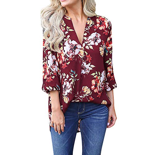 - 〓COOlCCI〓Women Floral Print V Neck Long Sleeve Shirts Casual Loose Patchwork Blouses Tops 2019 Fashion Boho Tops T-Shirt Red