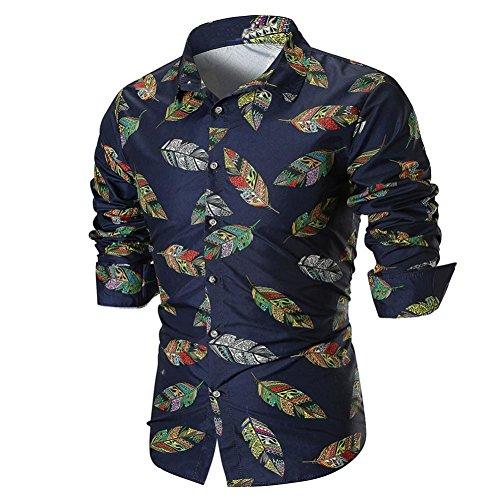 OWMEOT Mens Premium Casual Inner Contrast Dress Shirt (Navy, 2XL) by OWMEOT