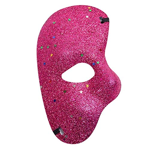 Party Masks - 7 Colors Left Face Mask Halloween Masquerade Adult Cutout Eye Lace Mask Venetian Ball Mask Prom Party Cosplay Prop Accessories - (Color: Hot -