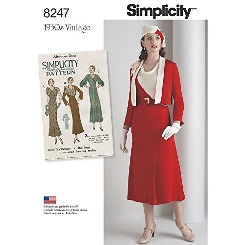 (Simplicity Pattern 8247 R5 Misses' 1930's Dress and Jacket , Size: R5 (14-16-18-20-22) )