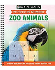 Brain Games - Sticker by Number: Zoo Animals (Easy - Square Stickers): Create Beautiful Art With Easy to Use Sticker Fun!