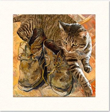 Vincent Van Gogh Shoes Cat Greeting Card, Blank Note Card, Deluxe 5 Inch Square Handmade, Designer Artwork By Deborah Julian