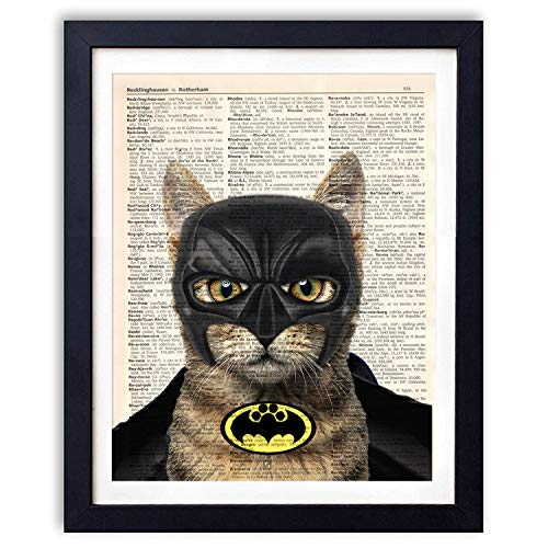 Ihopes Cat Batman Hero Vintage Book Art Print   Batman Fans Gifts   8x10 Unframed