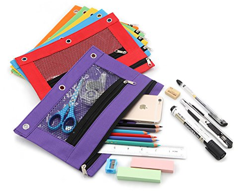 Pencil Case Pencil Pouch Zipper with 3 Ring and Double Pocket and Mesh Window(Colorful,6 Pack) by JONYEE (Image #4)