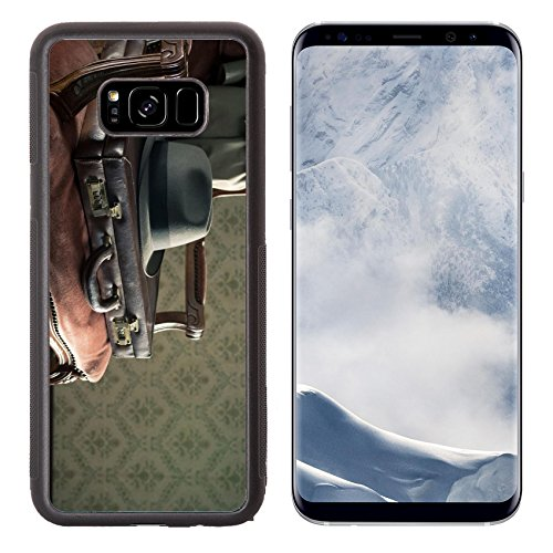 Luxlady Samsung Galaxy S8 Plus S8+ Aluminum Backplate Bumper Snap Case IMAGE ID 31300664 Vintage businessman clothing and briefcase on retro chair and vintage wallpaper on background