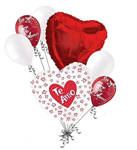 - 7 pc Te Amo Hearts & Arrows Love Valentines Day Balloon Bouquet Mine Hug Kiss