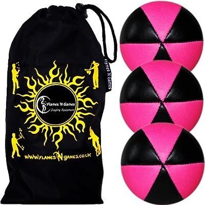Flames N Games ASTRIX UV Thud Juggling Balls set of 3 (BLACK/PINK) Pro 6 Panel Leather Juggling Ball Set & Travel Bag!: Toys & Games
