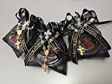 Rest In Peace, In Loving Memory Black Organza Bags With Red Our Virgin Of Guadalupe Rosaries.Party Pack 12. Recuerdos para funeral.