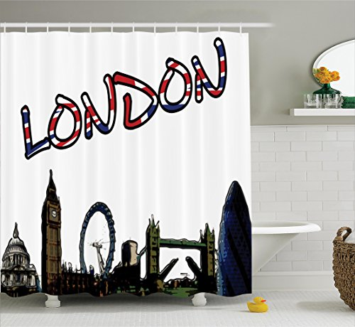 Ambesonne London Shower Curtain, Cartoon Drawing Style Famous Landmarks of London United Kingdom Big Ben Parliament, Fabric Bathroom Decor Set with Hooks, 84 inches Extra Long, Multicolor