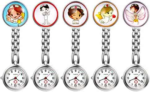 Women's Nurse Watch, 5 Pack Cute Cartoon Clip Lapel Hanging Medical Doctor Stethoscope Quartz Fob Pocket Watch with Metal Link