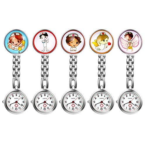 Nurse Watch with Second Hand for Women, 1-5 Pack Cute Cartoon Clip Lapel Hanging Medical Doctor Stethoscope Quartz Fob…