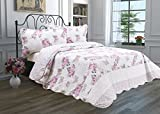 quilt double bed - 3 Piece Quilt Set with Shams Reversible Bedspread Matelasse Bedcover Double-Sided Bedding Coverlet Lightweight Comforter Linen Looking Luxurious Bed Cover (Pink Roses-Full-Queen)