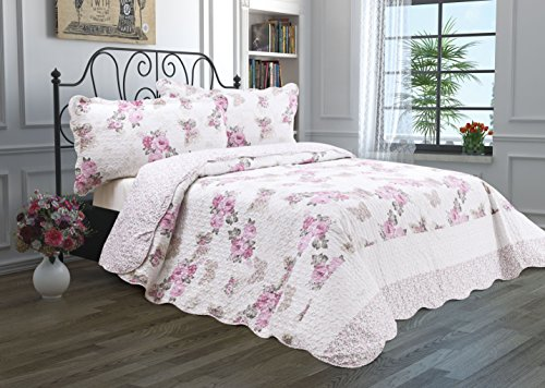 3 Piece Quilt Set with Shams Reversible Bedspread Matelasse Bedcover Double-Sided Bedding Coverlet Lightweight Comforter Oversized Linen Looking Luxurious Bed Cover (King, Pink Roses) (Floral Chenille)