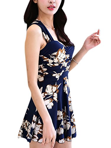 Allbebe Women's Vintege Floral Plus Size Two Piece Crossover Backless Swimsuit Blue XL=US L