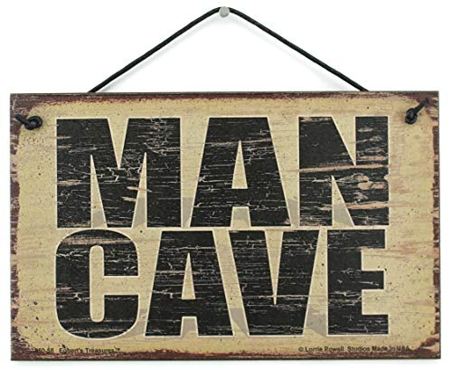 Man Cave Sign (5x8 Vintage Style Sign Saying,