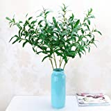 Artificial Plants,41.3'' Artificial Simulation Green Olive Stem Leaves Home Office Garden Decor Branches Fake Plants 3 Pcs tueselesoleil (Green)