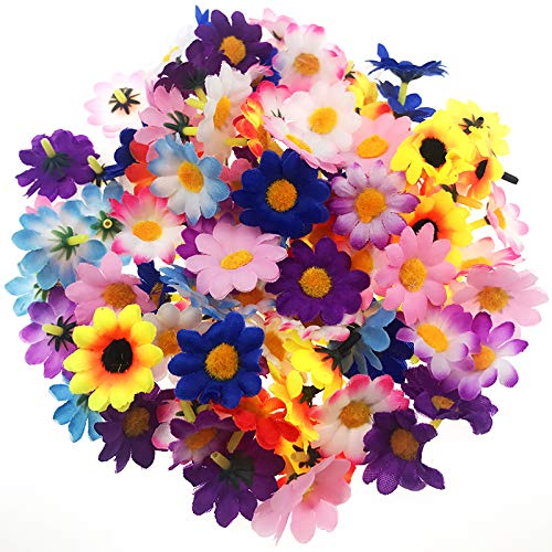 Codall 100 Pieces Daisy Flowers Small Flower Embellishments Assorted Colors for DIY ()