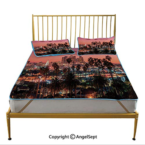 Three-Piece Breathable Ice Silk Sleeping Mat, Sunset Twilight Scenery Los Angeles Famous Downtown with Palm Trees Decorative Multicolor Pillow Shams Sets