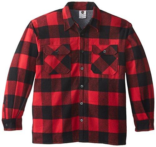 (Buffalo Plaid Sherpa Lined Jacket, Red, Medium)