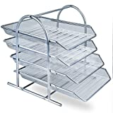 Zuvo Mesh Desk Organiser 4 Tier Letter Tray Organizer Office Desktop Document Paper File Storage Mesh Filling Collection for Home &Office Use (SILVER)