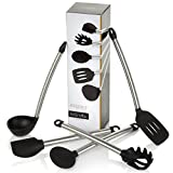 Bröndbi Essence 5-Piece Stainless Steel and Silicone Kitchen Utensil Set Includes Spatula, Spoon, Ladle, Spaghetti Server and Slotted Turner