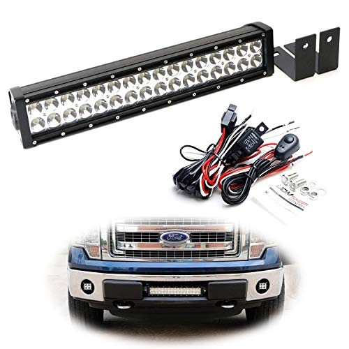 iJDMTOY Lower Bumper LED Light Bar Kit For 2009-14 Ford F-150 or Raptor, Includes (1) High Power Double Row LED Light Bar, Lower Bumper Mounting Brackets & Wiring Switch (No Cutting or Drilling)