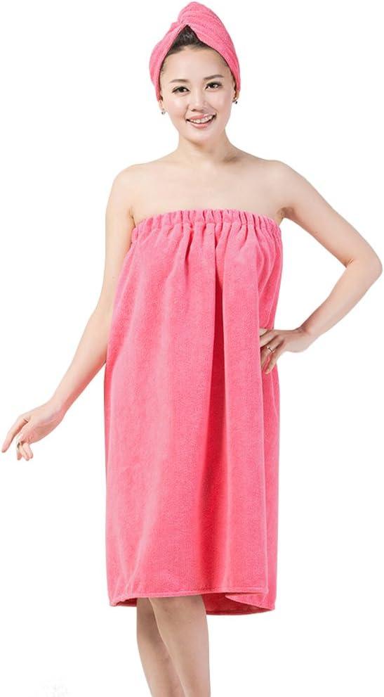 FakeFace Toalla de baño SPA Piscina de Microfibra súper Suave Absorbente para Mujer, Serie de Vestido Tubo, Gorro de Ducha, Toalla de baño, Sombrero de secador, Albornoz de baño para Mujer Rosa Claro