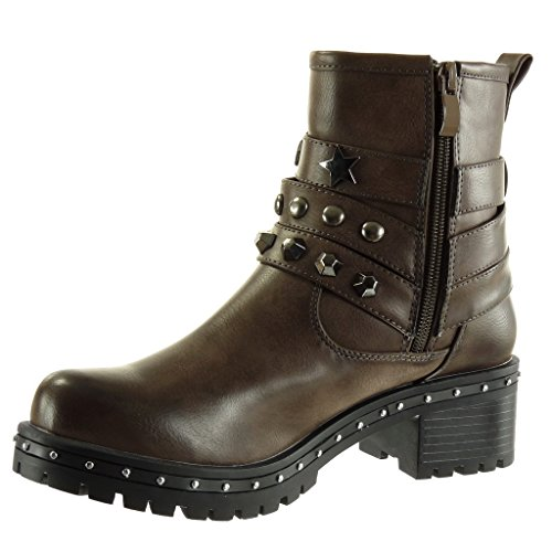 Angkorly Women's Fashion Shoes Ankle Boots - Booty - Biker - Cavalier - Studded - Multi Straps - Zip Block High Heel 5 cm Khaki Gl2Hi