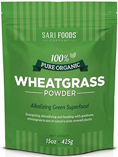 Pure Organic Wheatgrass Powder (15 ounce): Natural Vegan Whole food Fiber, Chlorophyll, Antioxidants, Vitamins A, E and B12, Selenium and Iron by Sari Foods Company