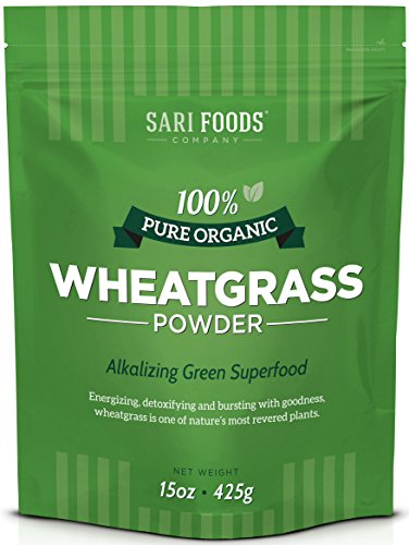 Pure Organic Wheatgrass Powder (15 ounce): Natural Vegan Whole food Fiber, Chlorophyll, Antioxidants, Vitamins A, E and B12, Selenium and Iron by Sari Foods Company