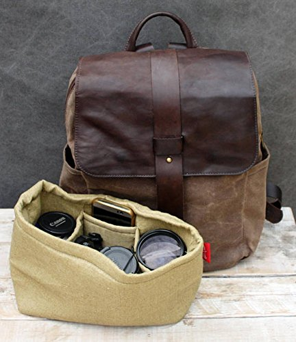 Handmade Brown Canvas and Leather Unisex Backpack with Camera SLR Insert