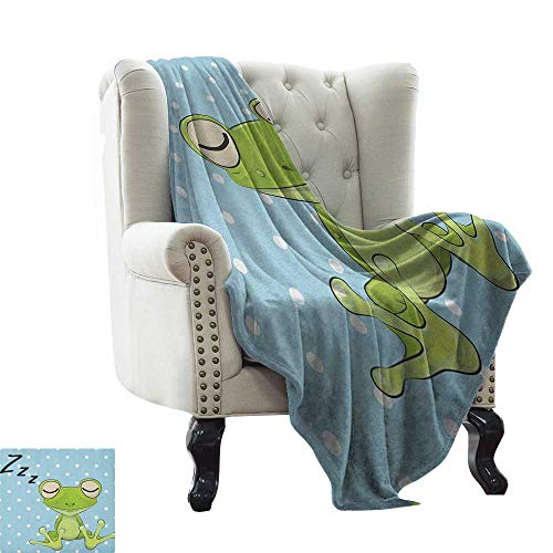 (LsWOW Cotton Blanket Cartoon,Sleeping Prince Frog in a Cap Polka Dots Background Cute Animal World Kids Design, Green Blue Comfortable Soft Material,give You Great Sleep)